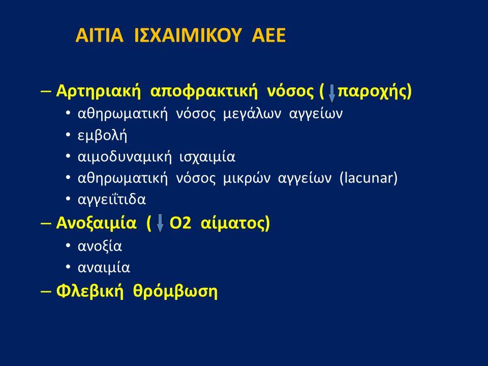 ΑΙΤΙΑ ΙΣΧΑΙΜΙΚΟΥ ΑΕΕ – Αρτηριακή αποφρακτική νόσος ( παροχής) αθηρωματική νόσος μεγάλων αγγείων εμβολή αιμοδυναμική ισχαιμία αθηρωματική νόσος μικρών αγγείων (lacunar) αγγειΐτιδα – Ανοξαιμία ( Ο2 αίματος) ανοξία αναιμία – Φλεβική θρόμβωση
