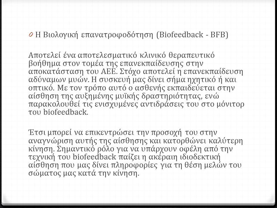 0 Η Βιολογική επανατροφοδότηση (Biofeedback - BFB) Αποτελεί ένα αποτελεσµατικό κλινικό θεραπευτικό βοήθημα στον τοµέα της επανεκπαίδευσης στην αποκατάσταση του ΑΕΕ.