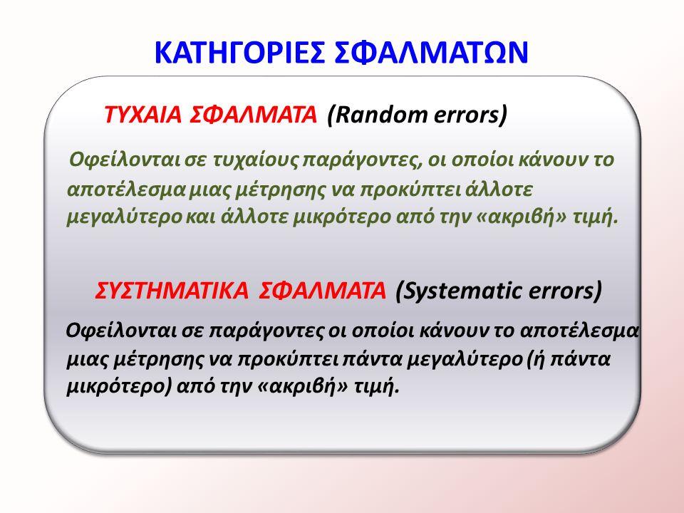 ΤΥΧΑΙΑ ΣΦΑΛΜΑΤΑ (Random errors) Οφείλονται σε τυχαίους παράγοντες, οι οποίοι κάνουν το αποτέλεσμα μιας μέτρησης να προκύπτει άλλοτε μεγαλύτερο και άλλοτε μικρότερο από την «ακριβή» τιμή.