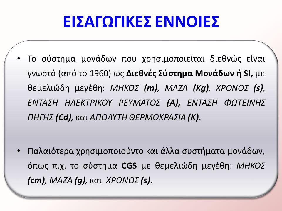 Το σύστημα μονάδων που χρησιμοποιείται διεθνώς είναι γνωστό (από το 1960) ως Διεθνές Σύστημα Μονάδων ή SI, με θεμελιώδη μεγέθη: ΜΗΚΟΣ (m), ΜΑΖΑ (Kg), ΧΡΟΝΟΣ (s), ΕΝΤΑΣΗ ΗΛΕΚΤΡΙΚΟΥ ΡΕΥΜΑΤΟΣ (Α), ΕΝΤΑΣΗ ΦΩΤΕΙΝΗΣ ΠΗΓΗΣ (Cd), και ΑΠΟΛΥΤΗ ΘΕΡΜΟΚΡΑΣΙΑ (Κ).
