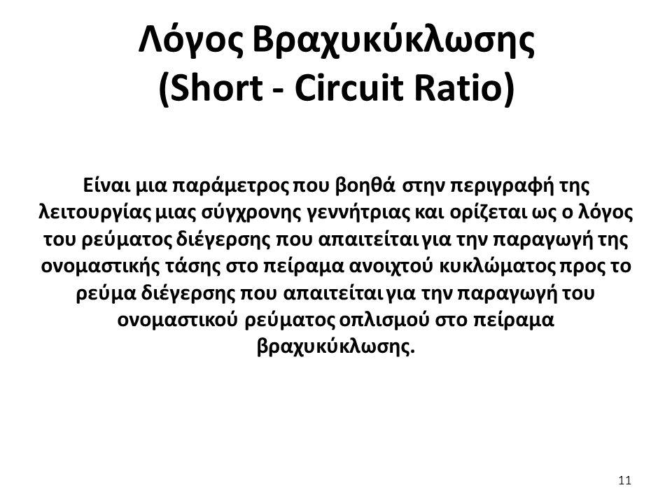 Λόγος Βραχυκύκλωσης (Short - Circuit Ratio) 11 Είναι μια παράμετρος που βοηθά στην περιγραφή της λειτουργίας μιας σύγχρονης γεννήτριας και ορίζεται ως ο λόγος του ρεύματος διέγερσης που απαιτείται για την παραγωγή της ονομαστικής τάσης στο πείραμα ανοιχτού κυκλώματος προς το ρεύμα διέγερσης που απαιτείται για την παραγωγή του ονομαστικού ρεύματος οπλισμού στο πείραμα βραχυκύκλωσης.