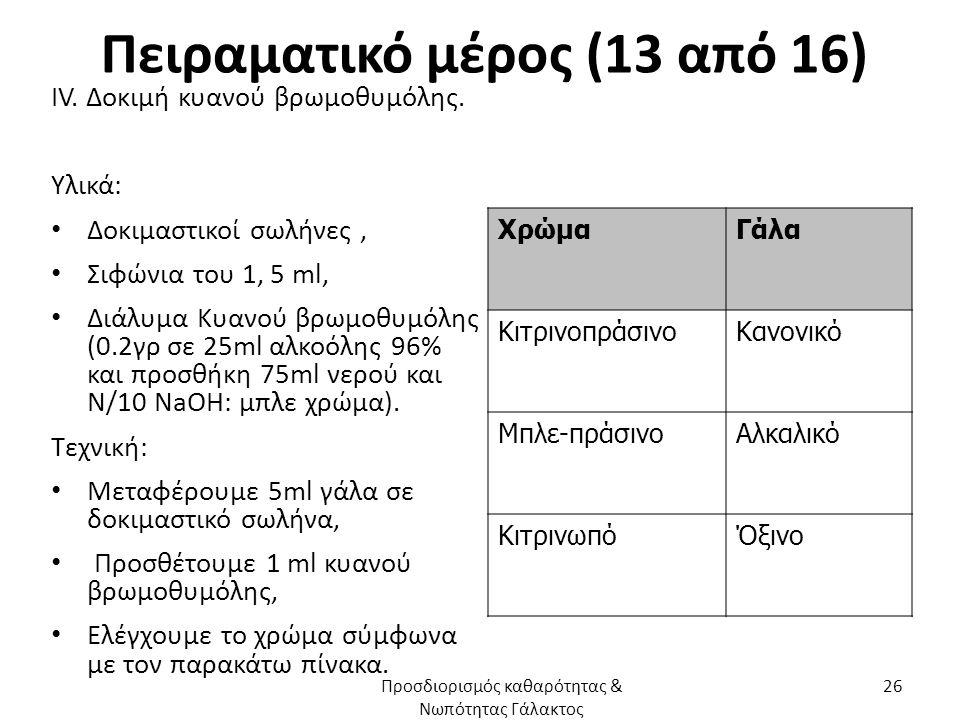 Πειραματικό μέρος (13 από 16) ΙV. Δοκιμή κυανού βρωμοθυμόλης. Υλικά: Δοκιμαστικοί σωλήνες, Σιφώνια του 1, 5 ml, Διάλυμα Κυανού βρωμοθυμόλης (0.2γρ σε