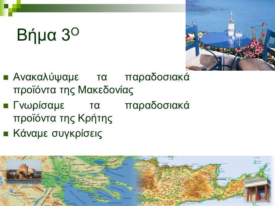 Βήμα 3 Ο Ανακαλύψαμε τα παραδοσιακά προϊόντα της Μακεδονίας Γνωρίσαμε τα παραδοσιακά προϊόντα της Κρήτης Κάναμε συγκρίσεις