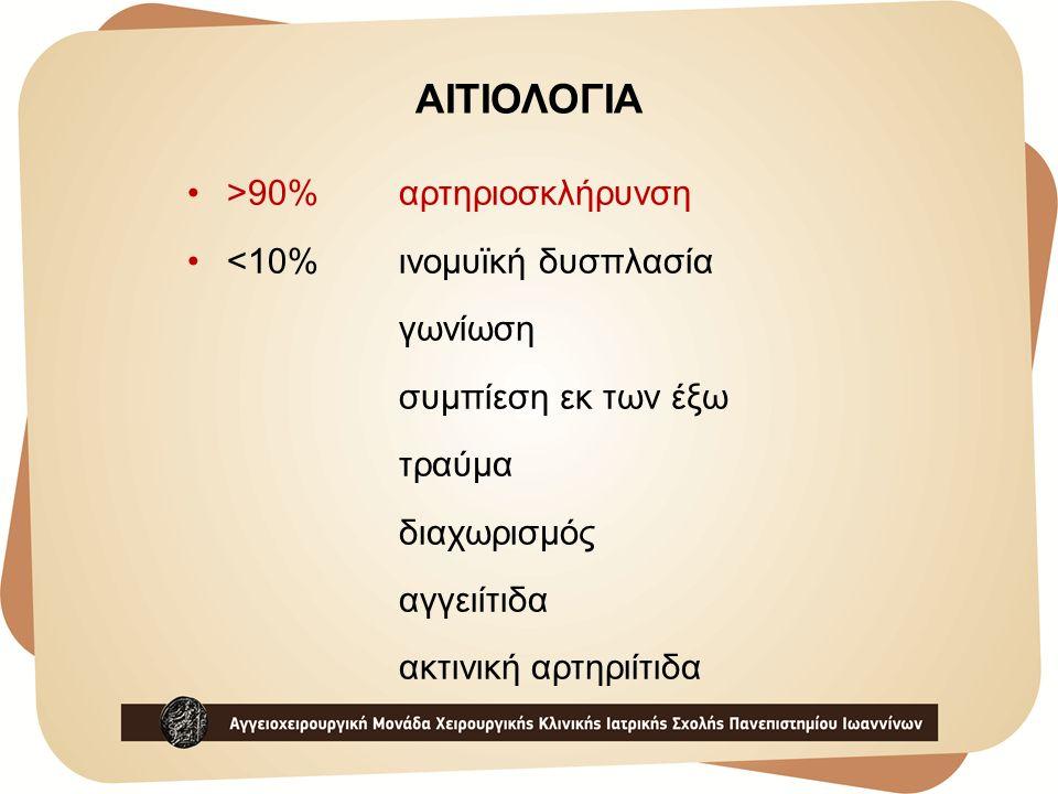 ΑΙΤΙΟΛΟΓΙΑ >90%αρτηριοσκλήρυνση <10% ινομυϊκή δυσπλασία γωνίωση συμπίεση εκ των έξω τραύμα διαχωρισμός αγγειίτιδα ακτινική αρτηριίτιδα