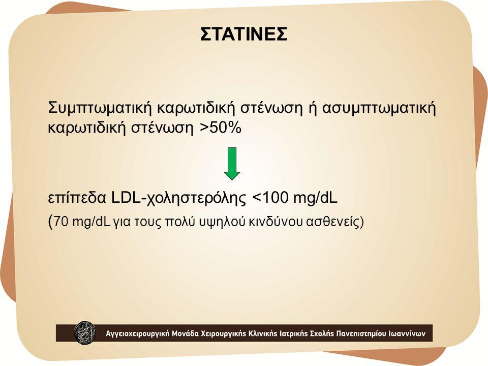 ΣΤΑΤΙΝΕΣ Συμπτωματική καρωτιδική στένωση ή ασυμπτωματική καρωτιδική στένωση >50% επίπεδα LDL-χοληστερόλης <100 mg/dL ( 70 mg/dL για τους πολύ υψηλού κ
