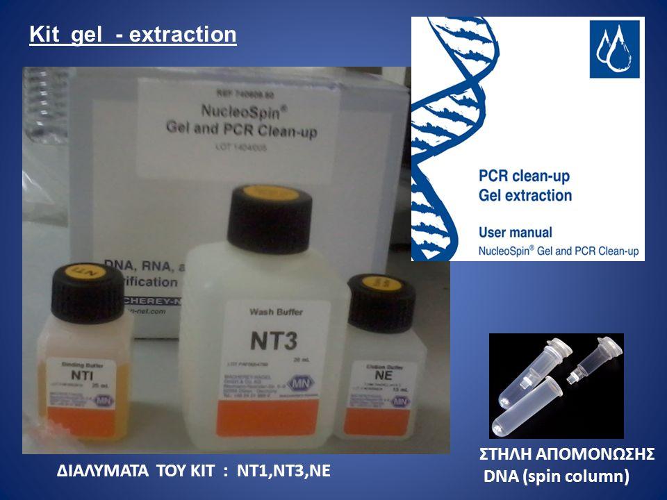 ΔΙΑΛΥΜΑΤΑ ΤΟΥ ΚΙΤ : ΝΤ1,ΝΤ3,ΝΕ ΣΤΗΛΗ ΑΠΟΜΟΝΩΣΗΣ DNA (spin column) Kit gel - extraction