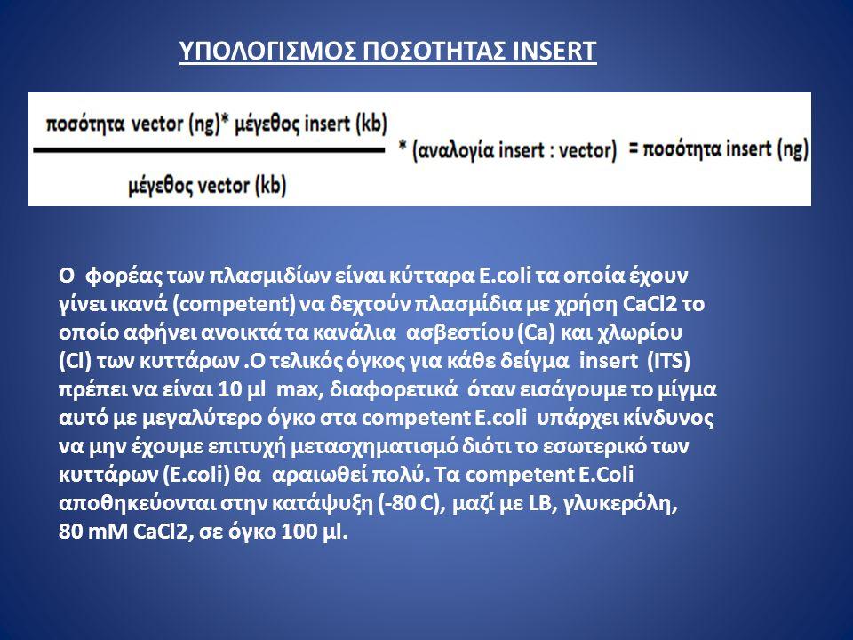 ΥΠΟΛΟΓΙΣΜΟΣ ΠΟΣΟΤΗΤΑΣ ΙNSERT Ο φορέας των πλασμιδίων είναι κύτταρα Ε.coli τα οποία έχουν γίνει ικανά (competent) να δεχτούν πλασμίδια με χρήση CaCl2 το οποίο αφήνει ανοικτά τα κανάλια ασβεστίου (Ca) και χλωρίου (Cl) των κυττάρων.O τελικός όγκος για κάθε δείγμα insert (ITS) πρέπει να είναι 10 μl max, διαφορετικά όταν εισάγουμε το μίγμα αυτό με μεγαλύτερο όγκο στα competent E.coli υπάρχει κίνδυνος να μην έχουμε επιτυχή μετασχηματισμό διότι τo εσωτερικό των κυττάρων (E.coli) θα αραιωθεί πολύ.