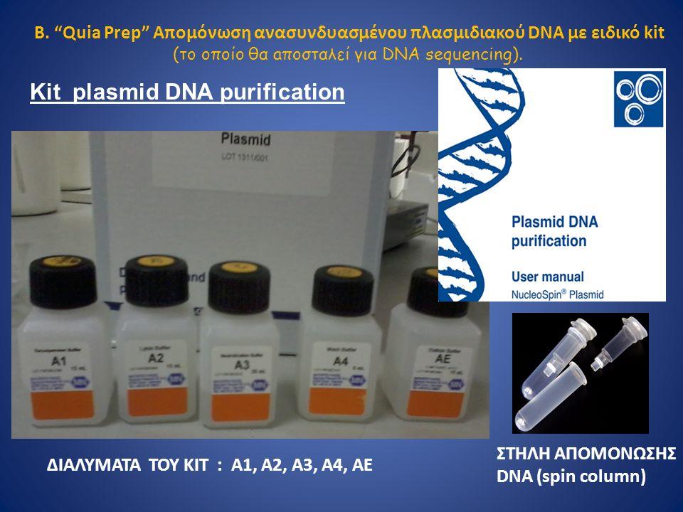 ΔΙΑΛΥΜΑΤΑ ΤΟΥ ΚΙΤ : A1, A2, A3, A4, AE ΣΤΗΛΗ ΑΠΟΜΟΝΩΣΗΣ DNA (spin column) Β.