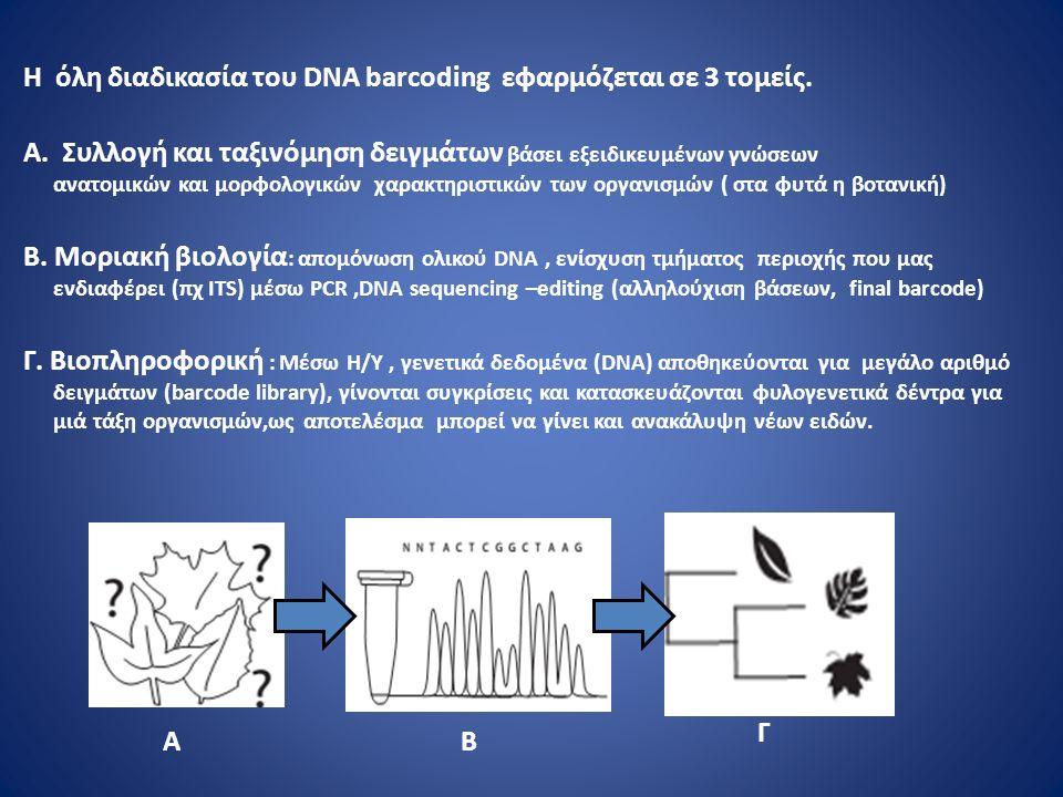 H όλη διαδικασία του DNA barcoding εφαρμόζεται σε 3 τομείς.
