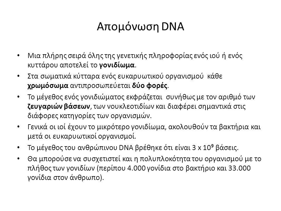 Απομόνωση DNA Mια πλήρης σειρά όλης της γενετικής πληροφορίας ενός ιού ή ενός κυττάρου αποτελεί το γονιδίωμα. Στα σωματικά κύτταρα ενός ευκαρυωτικού ο