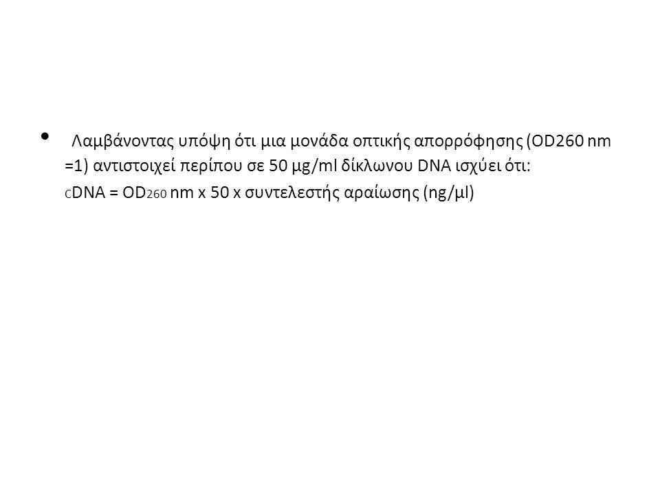 Λαµβάνοντας υπόψη ότι µια µονάδα οπτικής απορρόφησης (OD260 nm =1) αντιστοιχεί περίπου σε 50 µg/ml δίκλωνου DNA ισχύει ότι: C DNA = OD 260 nm x 50 x σ