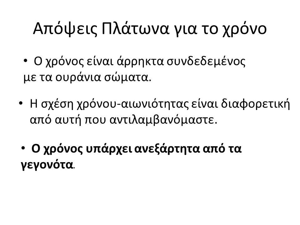 Απόψεις Πλάτωνα για το χρόνο Η σχέση χρόνου-αιωνιότητας είναι διαφορετική από αυτή που αντιλαμβανόμαστε.