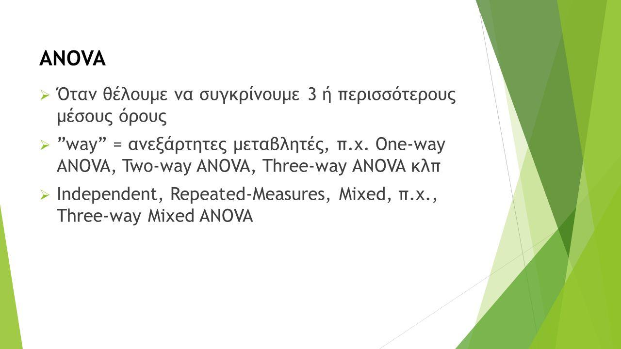 "ANOVA  Όταν θέλουμε να συγκρίνουμε 3 ή περισσότερους μέσους όρους  ""way"" = ανεξάρτητες μεταβλητές, π.χ. One-way ANOVA, Two-way ANOVA, Three-way ANOV"