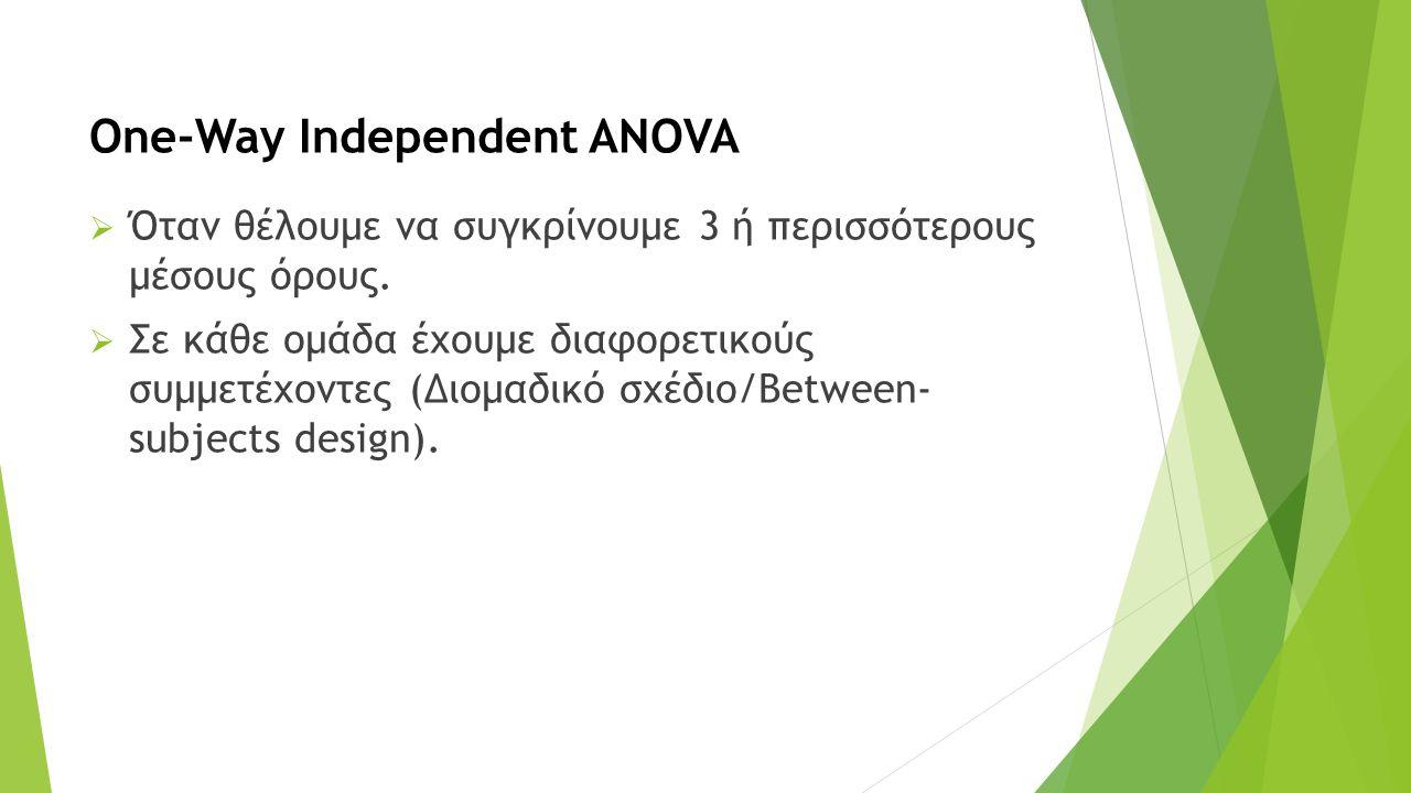 One-Way Independent ANOVA  Όταν θέλουμε να συγκρίνουμε 3 ή περισσότερους μέσους όρους.