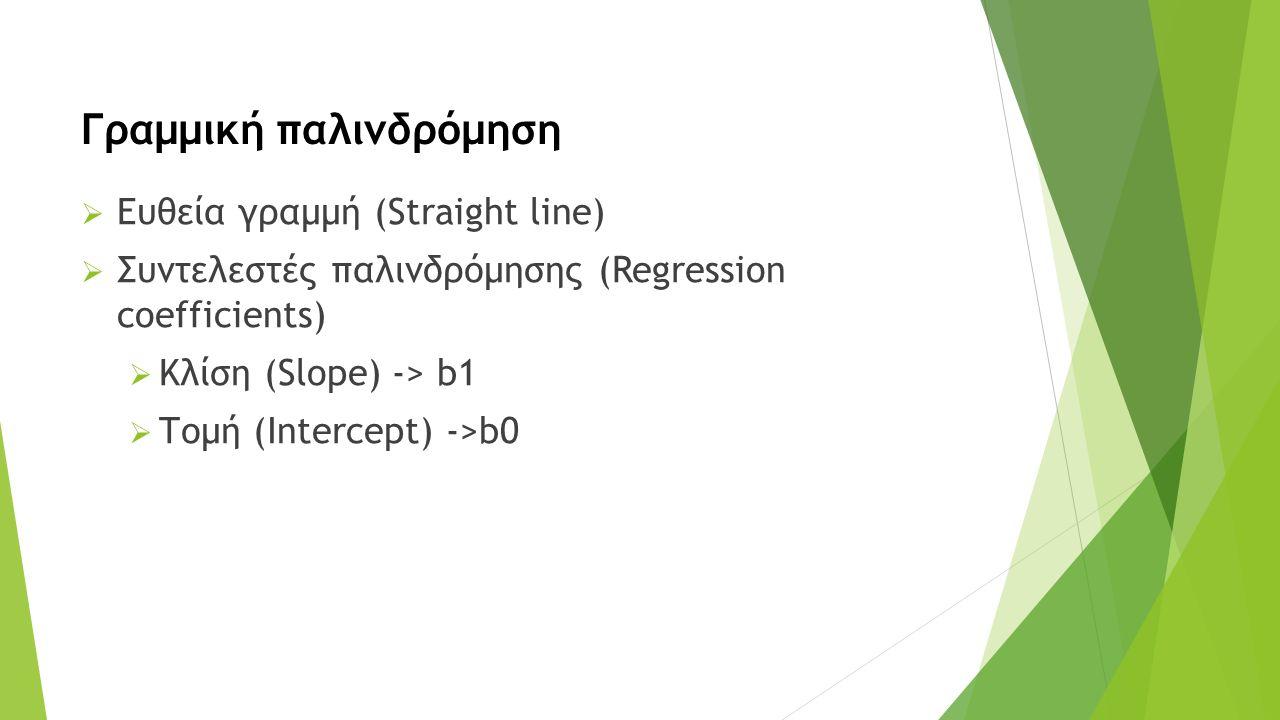  Ευθεία γραμμή (Straight line)  Συντελεστές παλινδρόμησης (Regression coefficients)  Κλίση (Slope) -> b1  Τομή (Intercept) ->b0 Γραμμική παλινδρόμηση