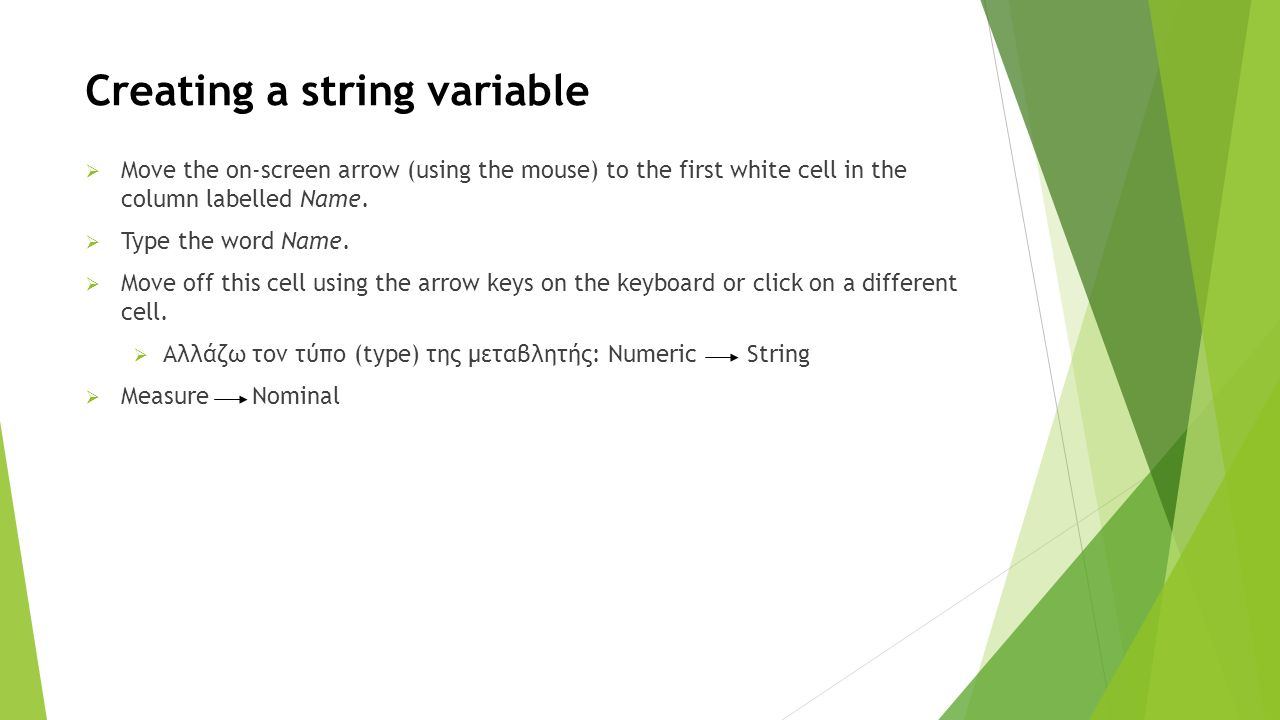 Creating a string variable  Move the on-screen arrow (using the mouse) to the first white cell in the column labelled Name.