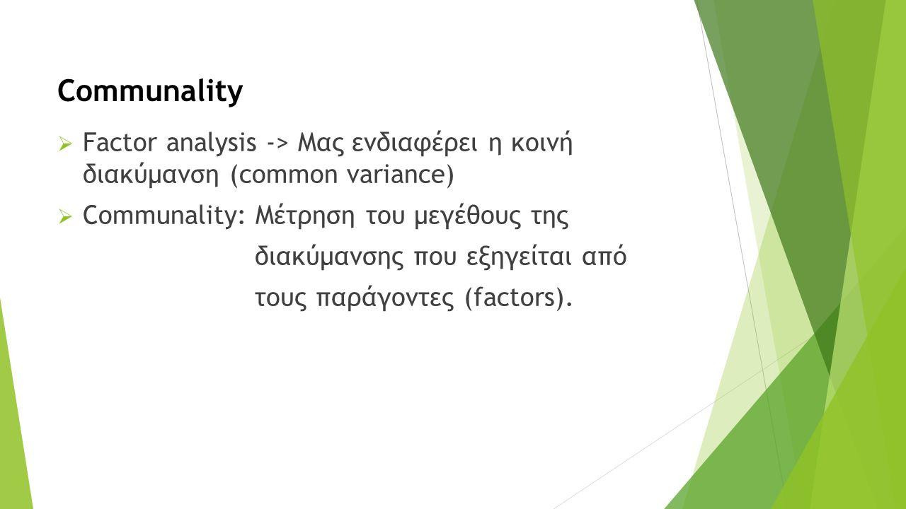  Factor analysis -> Μας ενδιαφέρει η κοινή διακύμανση (common variance)  Communality: Μέτρηση του μεγέθους της διακύμανσης που εξηγείται από τους παράγοντες (factors).