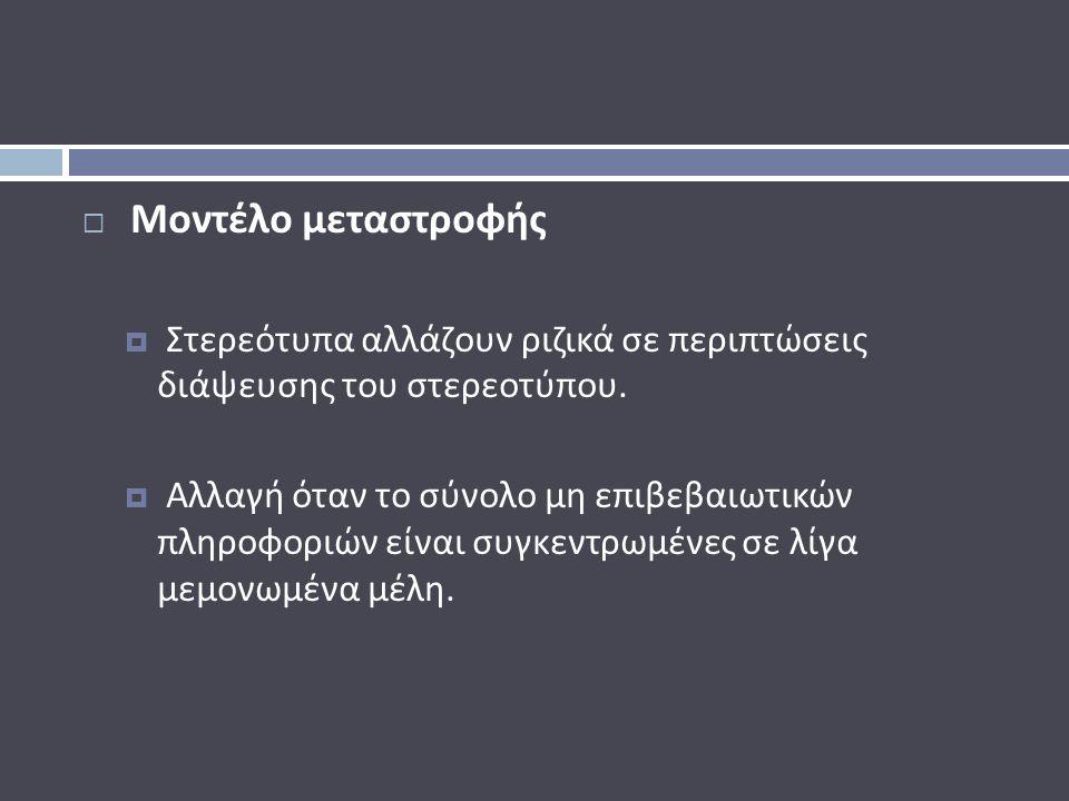  Μοντέλο μεταστροφής  Στερεότυπα αλλάζουν ριζικά σε περιπτώσεις διάψευσης του στερεοτύπου.