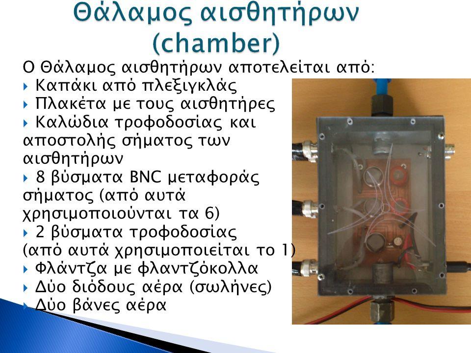 Ο Θάλαμος αισθητήρων αποτελείται από:  Καπάκι από πλεξιγκλάς  Πλακέτα με τους αισθητήρες  Καλώδια τροφοδοσίας και αποστολής σήματος των αισθητήρων  8 βύσματα BNC μεταφοράς σήματος (από αυτά χρησιμοποιούνται τα 6)  2 βύσματα τροφοδοσίας (από αυτά χρησιμοποιείται το 1)  Φλάντζα με φλαντζόκολλα  Δύο διόδους αέρα (σωλήνες)  Δύο βάνες αέρα