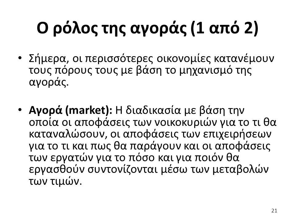 Ο ρόλος της αγοράς (1 από 2) Σήμερα, οι περισσότερες οικονομίες κατανέμουν τους πόρους τους με βάση το μηχανισμό της αγοράς.