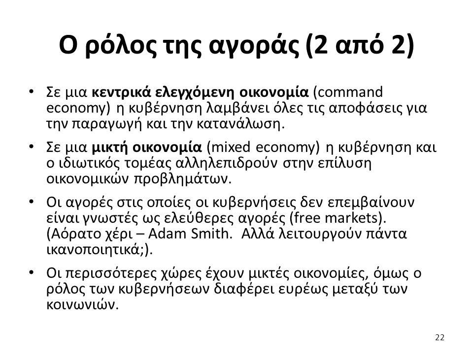 Ο ρόλος της αγοράς (2 από 2) Σε μια κεντρικά ελεγχόμενη οικονομία (command economy) η κυβέρνηση λαμβάνει όλες τις αποφάσεις για την παραγωγή και την κατανάλωση.