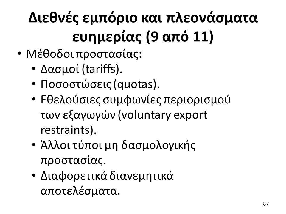 Διεθνές εμπόριο και πλεονάσματα ευημερίας (9 από 11) 87 Μέθοδοι προστασίας: Δασμοί (tariffs).