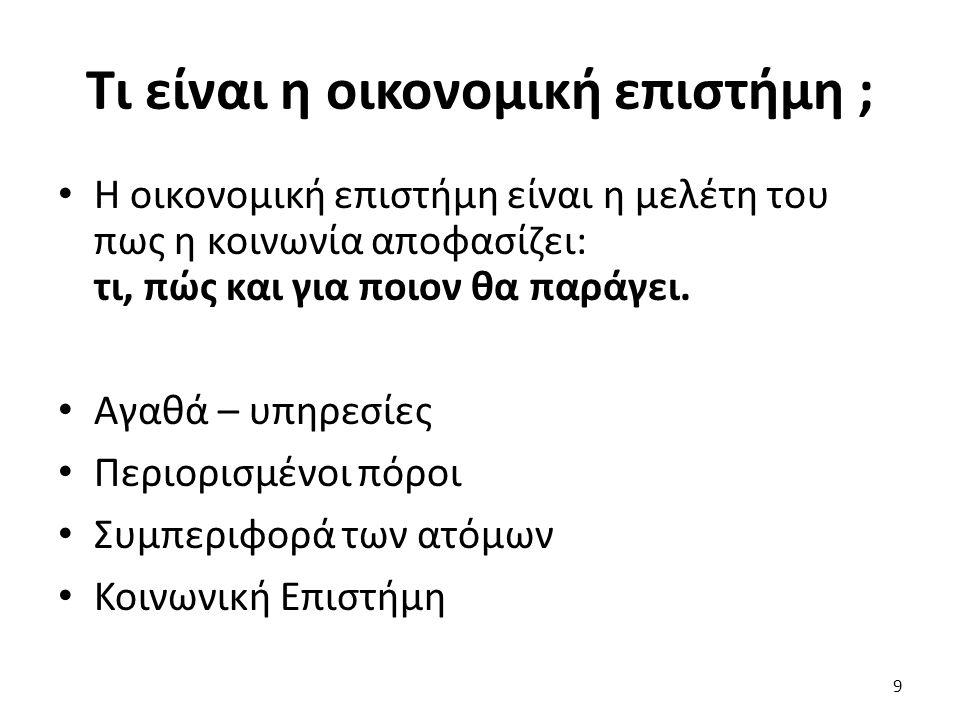 Μάθημα: Μικροοικονομική Ι, Ενότητα # 1: Εισαγωγή Διδάσκων: Πάνος Τσακλόγλου, Τμήμα: Διεθνών και Ευρωπαϊκών Οικονομικών Σπουδών Παραδείγματα