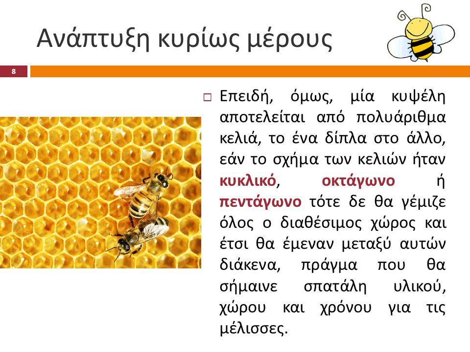 Η μαθηματική εξήγηση  Αναλυτικότερα, μία μέλισσα πρέπει ουσιαστικά να « πλακοστρώσει » τα κελιά της.
