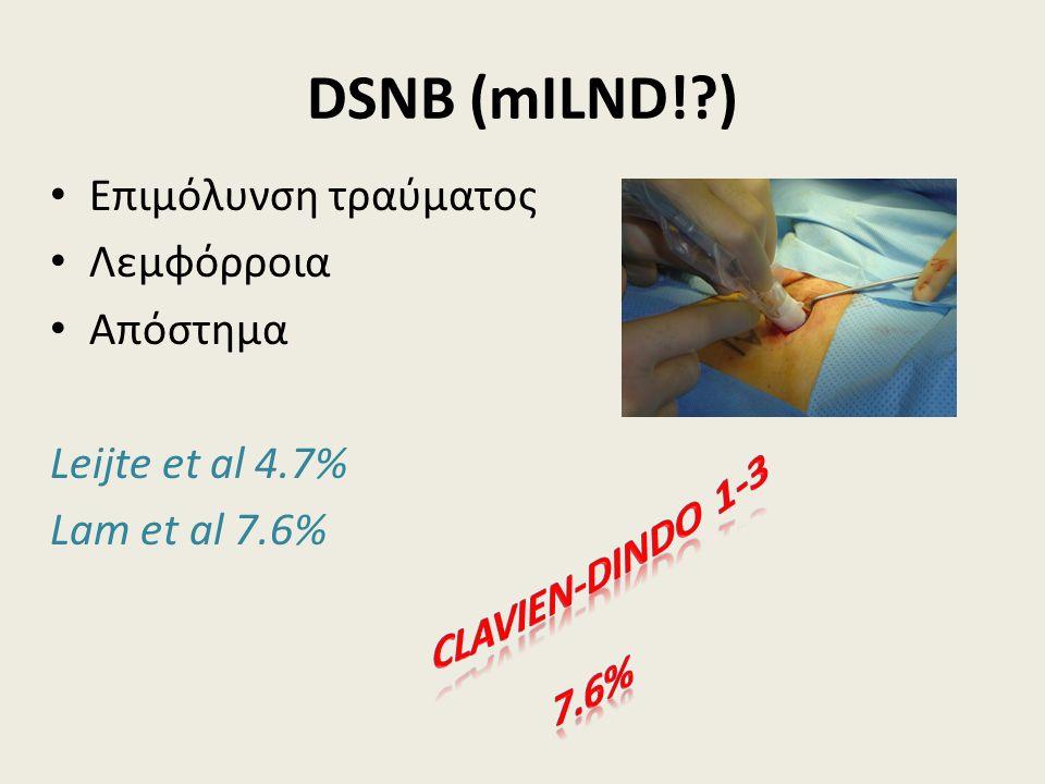 DSNB (mILND!?) Επιμόλυνση τραύματος Λεμφόρροια Απόστημα Leijte et al 4.7% Lam et al 7.6%