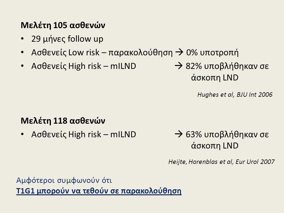 Μελέτη 105 ασθενών 29 μήνες follow up Ασθενείς Low risk – παρακολούθηση  0% υποτροπή Ασθενείς High risk – mILND  82% υποβλήθηκαν σε άσκοπη LND Hughes et al, BJU Int 2006 Μελέτη 118 ασθενών Ασθενείς High risk – mILND  63% υποβλήθηκαν σε άσκοπη LND Heijte, Horenblas et al, Eur Urol 2007 Αμφότεροι συμφωνούν ότι T1G1 μπορούν να τεθούν σε παρακολούθηση