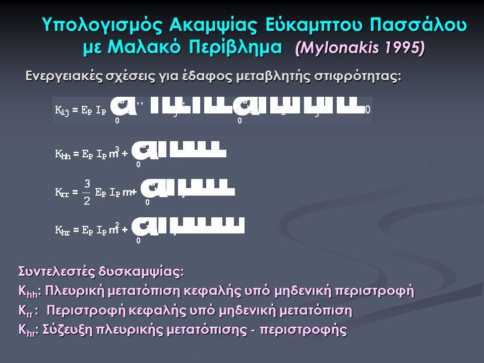 Υπολογισμός Ακαμψίας Εύκαμπτου Πασσάλου με Μαλακό Περίβλημα (Mylonakis 1995) Συντελεστές δυσκαμψίας: Κ hh : Πλευρική μετατόπιση κεφαλής υπό μηδενική περιστροφή Κ rr : Περιστροφή κεφαλής υπό μηδενική μετατόπιση Κ hr : Σύζευξη πλευρικής μετατόπισης - περιστροφής Ενεργειακές σχέσεις για έδαφος μεταβλητής στιφρότητας:
