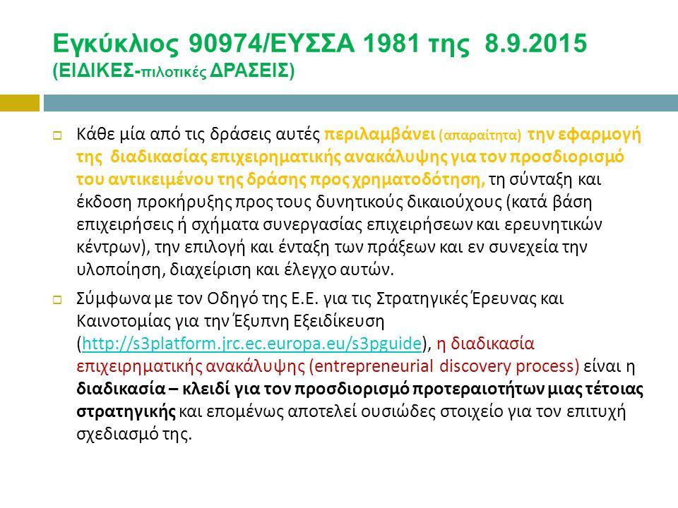 Εγκύκλιος 90974/ΕΥΣΣΑ 1981 της 8.9.2015 (ΕΙΔΙΚΕΣ- πιλοτικές ΔΡΑΣΕΙΣ)  Κάθε μία από τις δράσεις αυτές περιλαμβάνει (απαραίτητα) την εφαρμογή της διαδικασίας επιχειρηματικής ανακάλυψης για τον προσδιορισμό του αντικειμένου της δράσης προς χρηματοδότηση, τη σύνταξη και έκδοση προκήρυξης προς τους δυνητικούς δικαιούχους (κατά βάση επιχειρήσεις ή σχήματα συνεργασίας επιχειρήσεων και ερευνητικών κέντρων), την επιλογή και ένταξη των πράξεων και εν συνεχεία την υλοποίηση, διαχείριση και έλεγχο αυτών.