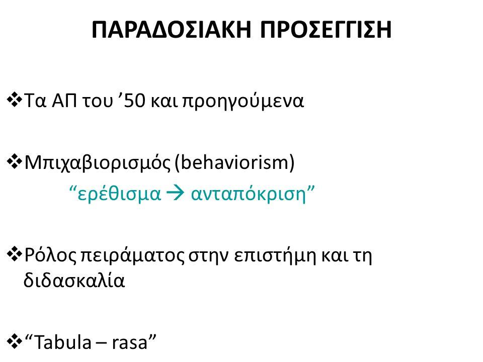 Μοντέλο Μεταφοράς της γνώσης Η γνώση μεταφέρεται από τον εκπαιδευτικό στο μαθητή που είναι παθητικός δέκτης Υιοθετείται η Συμπεριφοριστική (behaviorism) θεωρία μάθησης – Συσσωρευτική διαδικασία μεταβίβασης της γνώσης Συνήθως συνοδεύεται με Πείραμα Επίδειξης - Επιβεβαίωσης νέας γνώσης