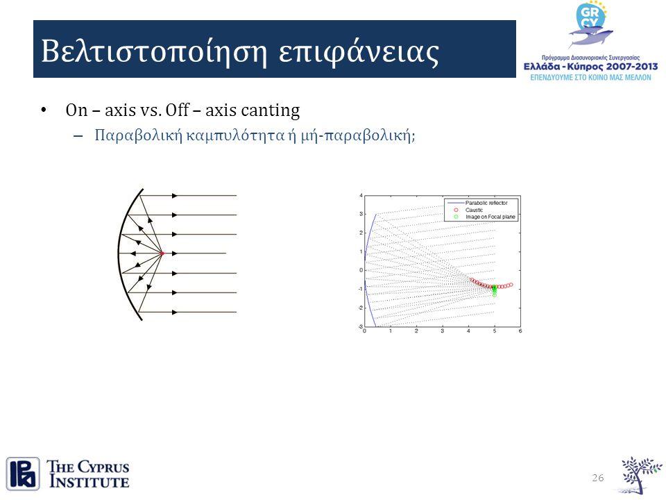 Βελτιστοποίηση επιφάνειας On – axis vs.
