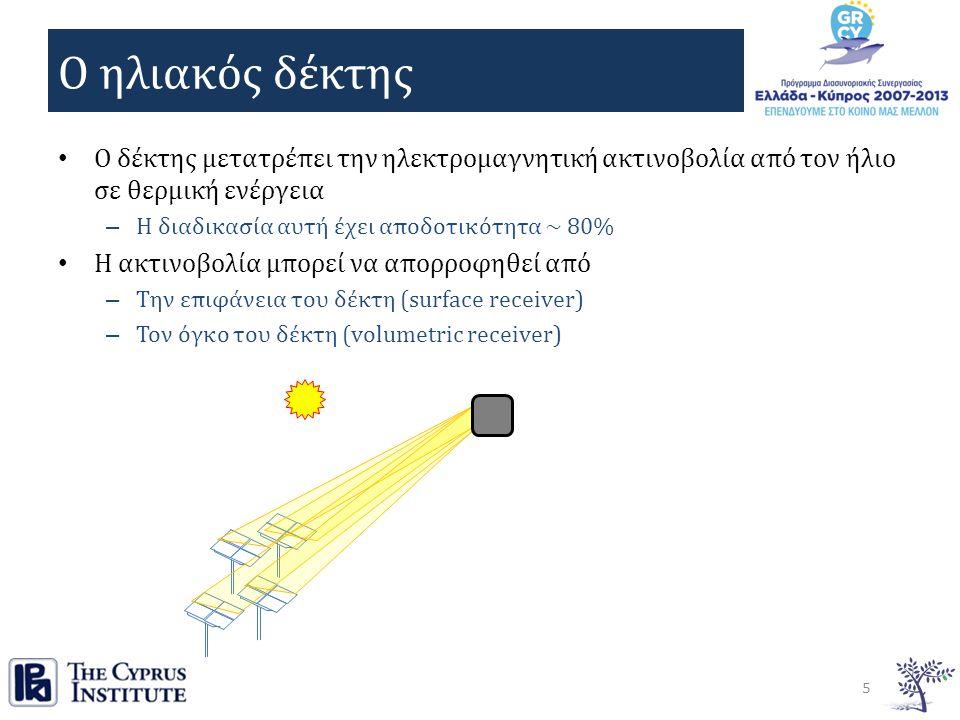 Ο ηλιακός δέκτης Ο δέκτης μετατρέπει την ηλεκτρομαγνητική ακτινοβολία από τον ήλιο σε θερμική ενέργεια – Η διαδικασία αυτή έχει αποδοτικότητα ~ 80% Η ακτινοβολία μπορεί να απορροφηθεί από – Την επιφάνεια του δέκτη (surface receiver) – Τον όγκο του δέκτη (volumetric receiver) 5