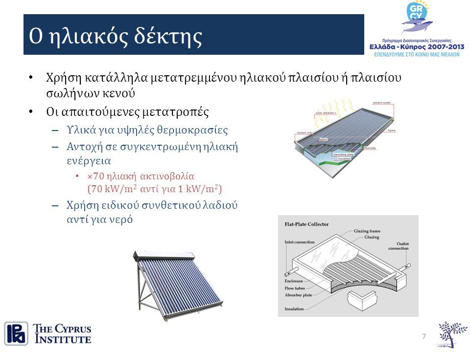 Ο ηλιακός δέκτης Χρήση κατάλληλα μετατρεμμένου ηλιακού πλαισίου ή πλαισίου σωλήνων κενού Οι απαιτούμενες μετατροπές – Υλικά για υψηλές θερμοκρασίες – Αντοχή σε συγκεντρωμένη ηλιακή ενέργεια ×70 ηλιακή ακτινοβολία (70 kW/m 2 αντί για 1 kW/m 2 ) – Χρήση ειδικού συνθετικού λαδιού αντί για νερό 7