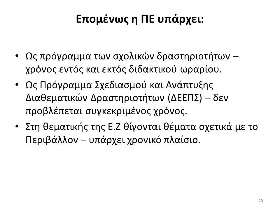 19 Επομένως η ΠΕ υπάρχει: Ως πρόγραμμα των σχολικών δραστηριοτήτων – χρόνος εντός και εκτός διδακτικού ωραρίου.