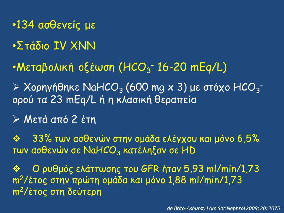 134 ασθενείς με Στάδιο IV ΧΝΝ Μεταβολική οξέωση (HCO 3 - 16-20 mEq/L)  Χορηγήθηκε NaHCO 3 (600 mg x 3) με στόχο HCO 3 - ορού τα 23 mEq/L ή η κλασική θεραπεία  Μετά από 2 έτη  33% των ασθενών στην ομάδα ελέγχου και μόνο 6,5% των ασθενών σε NaHCO 3 κατέληξαν σε HD  Ο ρυθμός ελάττωσης του GFR ήταν 5,93 ml/min/1,73 m 2 /έτος στην πρώτη ομάδα και μόνο 1,88 ml/min/1,73 m 2 /έτος στη δεύτερη de Brito-Ashurst, J Am Soc Nephrol 2009; 20: 2075