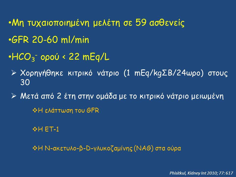 Μη τυχαιοποιημένη μελέτη σε 59 ασθενείς GFR 20-60 ml/min HCO 3 - ορού < 22 mEq/L  Χορηγήθηκε κιτρικό νάτριο (1 mEq/kgΣΒ/24ωρο) στους 30  Μετά από 2 έτη στην ομάδα με το κιτρικό νάτριο μειωμένη  Η ελάττωση του GFR  H ΕΤ-1  Η Ν-ακετυλο-β-D-γλυκοζαμίνης (NAG) στα ούρα Phisitkul, Kidney Int 2010; 77: 617