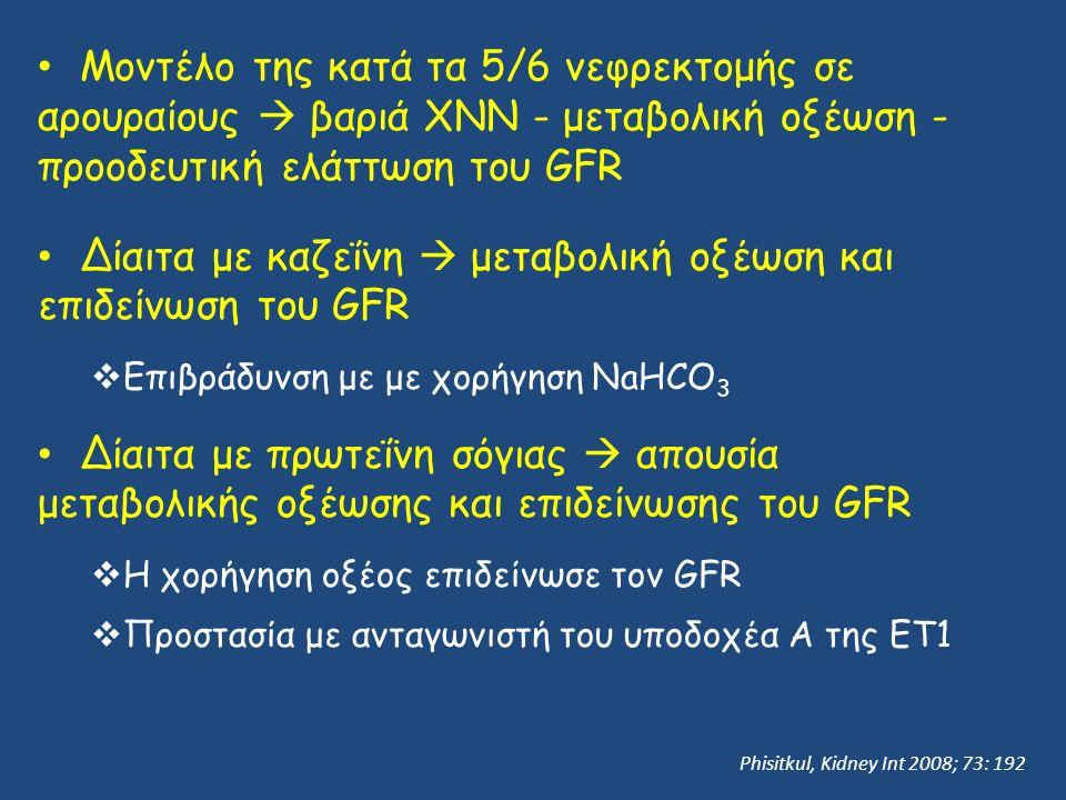 Μοντέλο της κατά τα 5/6 νεφρεκτομής σε αρουραίους  βαριά ΧΝΝ - μεταβολική οξέωση - προοδευτική ελάττωση του GFR Δίαιτα με καζεΐνη  μεταβολική οξέωση και επιδείνωση του GFR  Επιβράδυνση με με χορήγηση NaHCO 3 Δίαιτα με πρωτεΐνη σόγιας  απουσία μεταβολικής οξέωσης και επιδείνωσης του GFR  Η χορήγηση οξέος επιδείνωσε τον GFR  Προστασία με ανταγωνιστή του υποδοχέα Α της ΕΤ1 Phisitkul, Kidney Int 2008; 73: 192