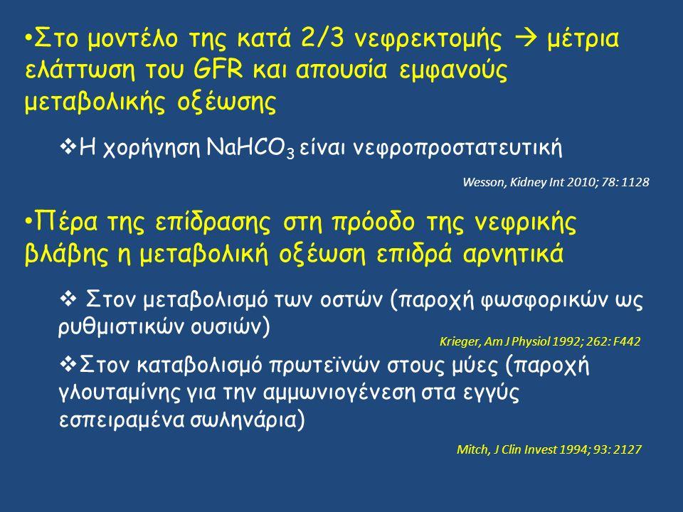 Στο μοντέλο της κατά 2/3 νεφρεκτομής  μέτρια ελάττωση του GFR και απουσία εμφανούς μεταβολικής οξέωσης  Η χορήγηση NaHCO 3 είναι νεφροπροστατευτική Πέρα της επίδρασης στη πρόοδο της νεφρικής βλάβης η μεταβολική οξέωση επιδρά αρνητικά  Στον μεταβολισμό των οστών (παροχή φωσφορικών ως ρυθμιστικών ουσιών)  Στον καταβολισμό πρωτεϊνών στους μύες (παροχή γλουταμίνης για την αμμωνιογένεση στα εγγύς εσπειραμένα σωληνάρια) Wesson, Kidney Int 2010; 78: 1128 Krieger, Am J Physiol 1992; 262: F442 Mitch, J Clin Invest 1994; 93: 2127