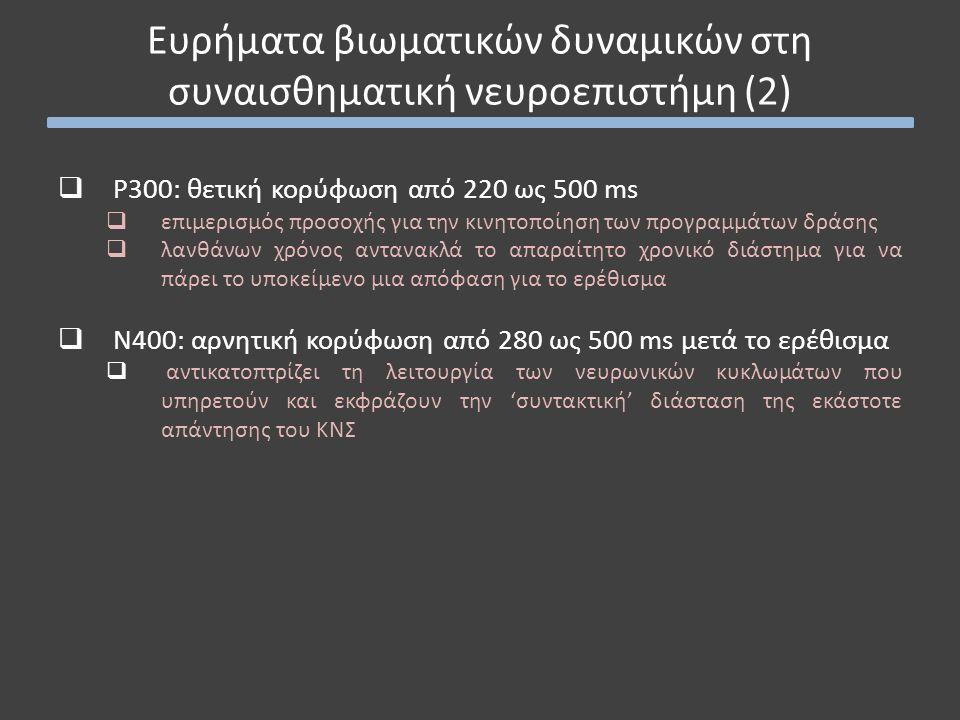  P300: θετική κορύφωση από 220 ως 500 ms  επιμερισμός προσοχής για την κινητοποίηση των προγραμμάτων δράσης  λανθάνων χρόνος αντανακλά το απαραίτητο χρονικό διάστημα για να πάρει το υποκείμενο μια απόφαση για το ερέθισμα  Ν400: αρνητική κορύφωση από 280 ως 500 ms μετά το ερέθισμα  αντικατοπτρίζει τη λειτουργία των νευρωνικών κυκλωμάτων που υπηρετούν και εκφράζουν την 'συντακτική' διάσταση της εκάστοτε απάντησης του ΚΝΣ Ευρήματα βιωματικών δυναμικών στη συναισθηματική νευροεπιστήμη (2)