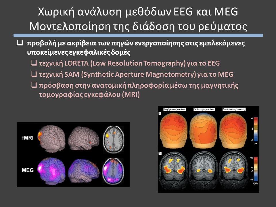  προβολή με ακρίβεια των πηγών ενεργοποίησης στις εμπλεκόμενες υποκείμενες εγκεφαλικές δομές  τεχνική LORETA (Low Resolution Tomography) για το EEG