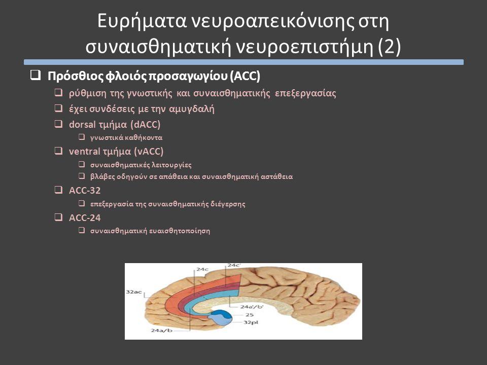  Πρόσθιος φλοιός προσαγωγίου (ACC)  ρύθμιση της γνωστικής και συναισθηματικής επεξεργασίας  έχει συνδέσεις με την αμυγδαλή  dorsal τμήμα (dACC) 