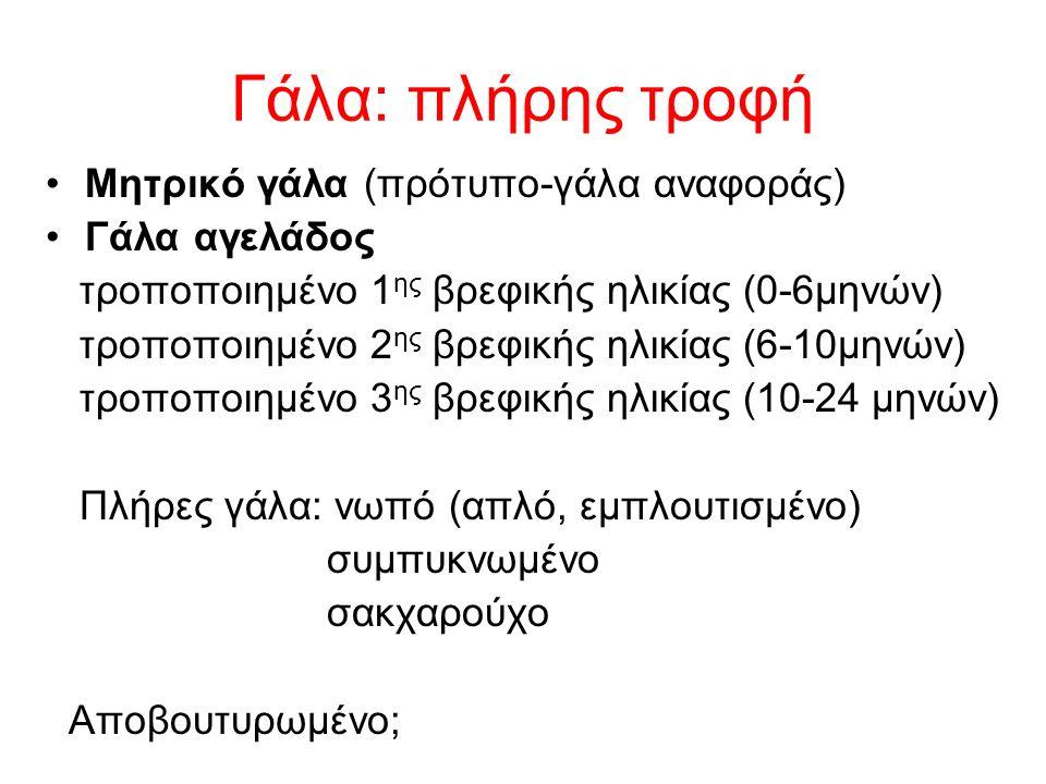 Γάλα: πλήρης τροφή Μητρικό γάλα (πρότυπο-γάλα αναφοράς) Γάλα αγελάδος τροποποιημένο 1 ης βρεφικής ηλικίας (0-6μηνών) τροποποιημένο 2 ης βρεφικής ηλικίας (6-10μηνών) τροποποιημένο 3 ης βρεφικής ηλικίας (10-24 μηνών) Πλήρες γάλα: νωπό (απλό, εμπλουτισμένο) συμπυκνωμένο σακχαρούχο Αποβουτυρωμένο;