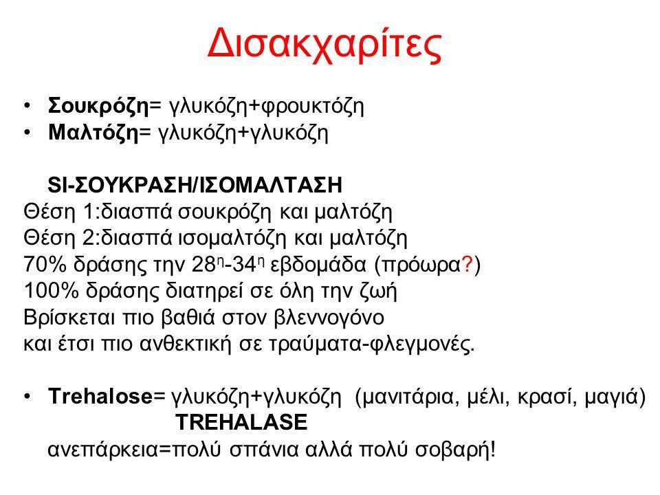 Δισακχαρίτες Σουκρόζη= γλυκόζη+φρουκτόζη Μαλτόζη= γλυκόζη+γλυκόζη SI-ΣΟΥΚΡΑΣΗ/ΙΣΟΜΑΛΤΑΣΗ Θέση 1:διασπά σουκρόζη και μαλτόζη Θέση 2:διασπά ισομαλτόζη κ