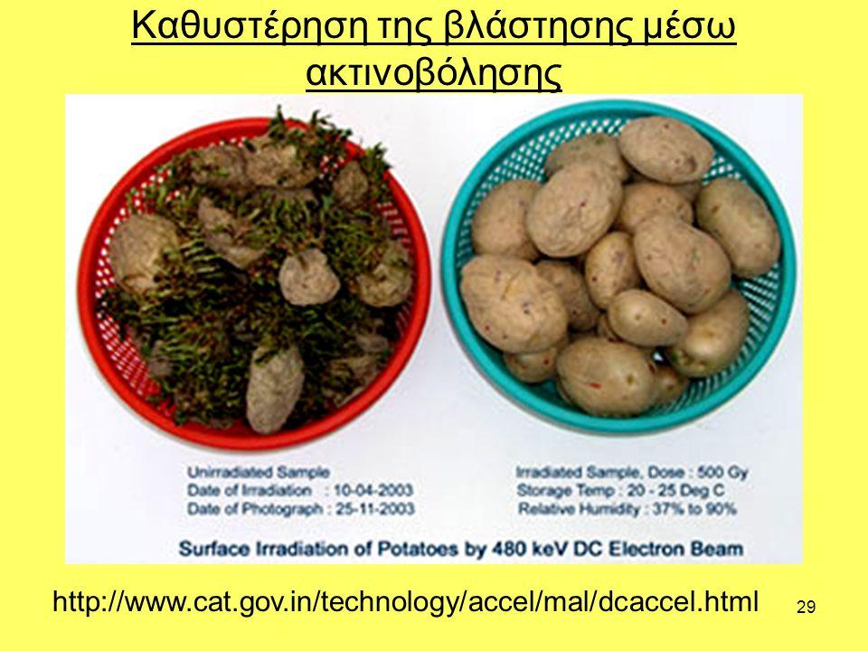 29 Καθυστέρηση της βλάστησης μέσω ακτινοβόλησης http://www.cat.gov.in/technology/accel/mal/dcaccel.html