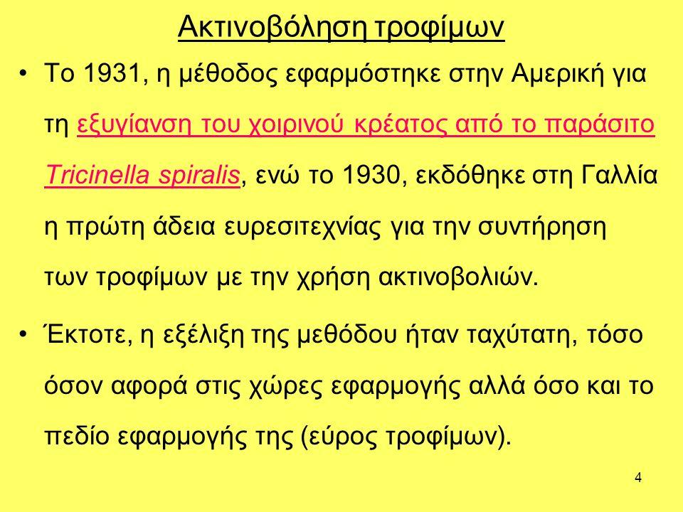 4 Ακτινοβόληση τροφίμων Το 1931, η μέθοδος εφαρμόστηκε στην Αμερική για τη εξυγίανση του χοιρινού κρέατος από το παράσιτο Tricinella spiralis, ενώ το 1930, εκδόθηκε στη Γαλλία η πρώτη άδεια ευρεσιτεχνίας για την συντήρηση των τροφίμων με την χρήση ακτινοβολιών.