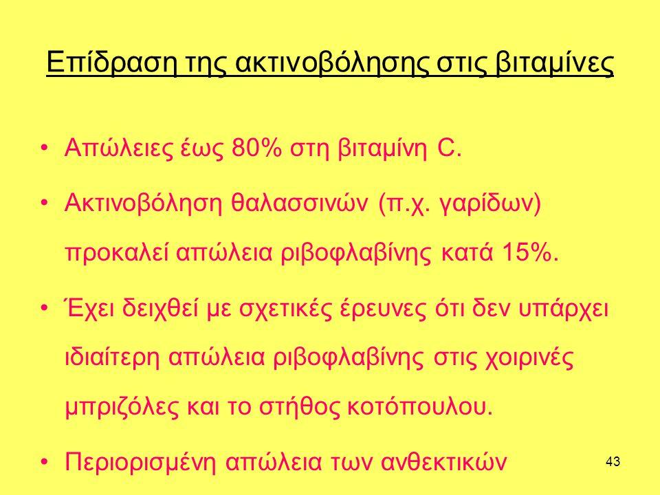 43 Επίδραση της ακτινοβόλησης στις βιταμίνες Απώλειες έως 80% στη βιταμίνη C.