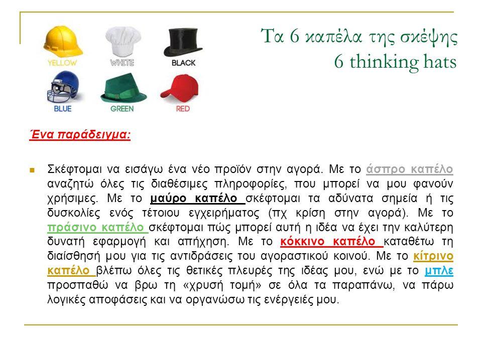 Τα 6 καπέλα της σκέψης 6 thinking hats Ένα παράδειγμα: Σκέφτομαι να εισάγω ένα νέο προϊόν στην αγορά. Με το άσπρο καπέλο αναζητώ όλες τις διαθέσιμες π